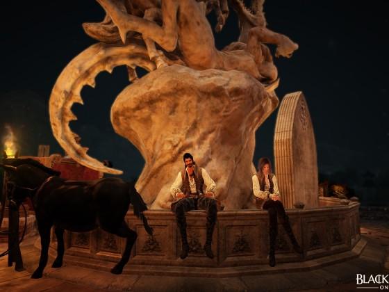 Ein herrlicher Abend am Brunnen...mit Fendt...ehm und Esel ^^