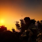 Sonnenuntergang am Delphe-Außenposten (es begann zu regnen)
